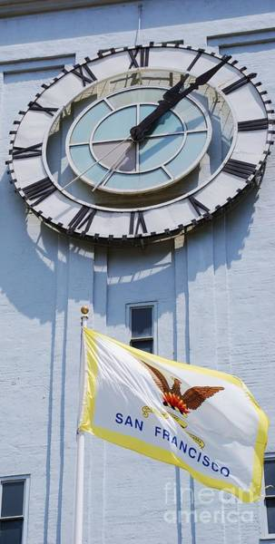 Wall Art - Photograph - The Ferry Terminal Clock And The Flag Of San Francisco by Marcus Dagan