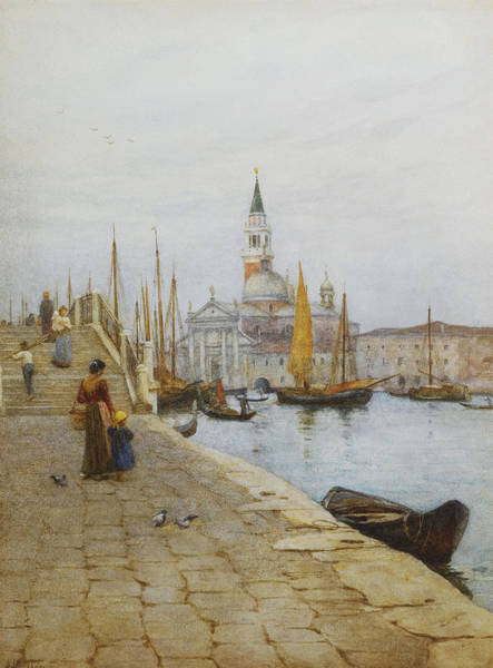 Physical Features Wall Art - Painting - San Giorgio Maggiore From The Zattere by Helen Allingham