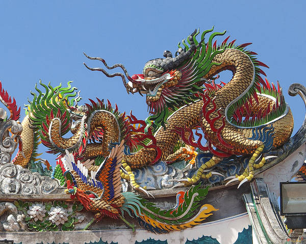 Photograph - San Jao Kuan Tae Kun Roof Dragon And Phoenix Dthp201 by Gerry Gantt