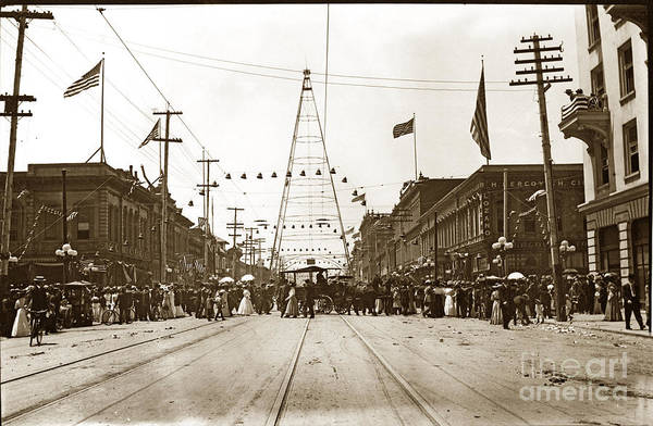 Photograph - San Jose Electric Light Tower Santa Clara St. Circa 1905 by California Views Archives Mr Pat Hathaway Archives