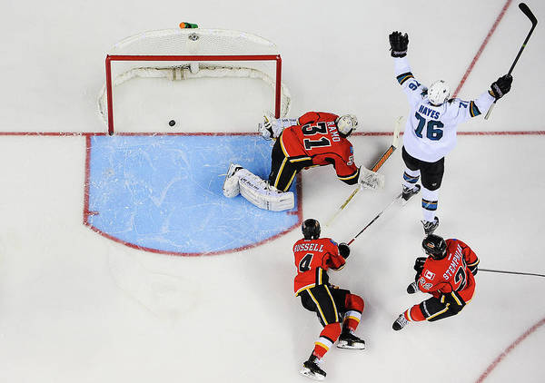 Scoring Photograph - San Jose Sharks V Calgary Flames by Derek Leung