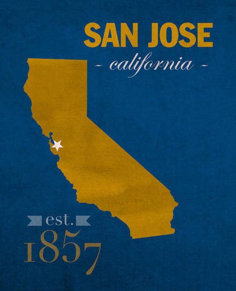 Wall Art - Mixed Media - San Jose State University California Spartans College Town State Map Poster Series No 094 by Design Turnpike