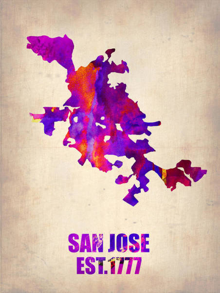 Wall Art - Painting - San Jose Watercolor Map by Naxart Studio