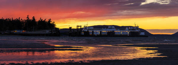 Victoria Harbor Wall Art - Photograph - San Juans Ferry Sunset Twilight by Mike Reid