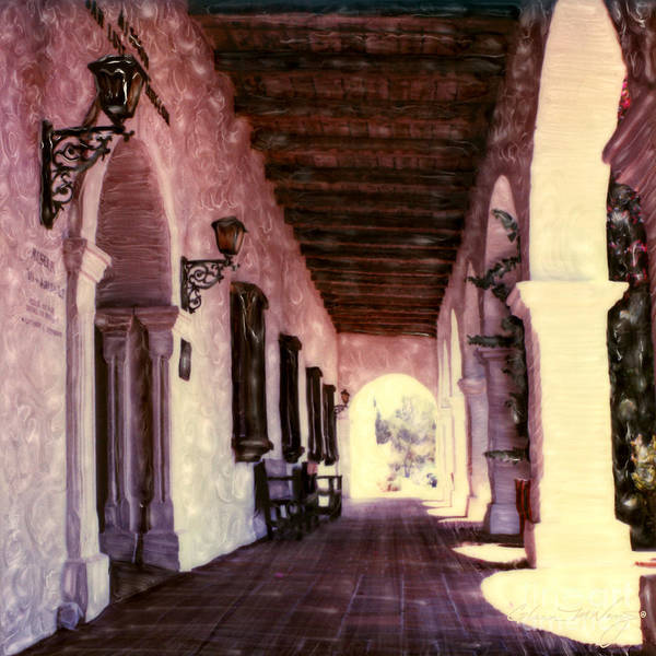 Mixed Media - San Luis Rey Mission Walkway by Glenn McNary