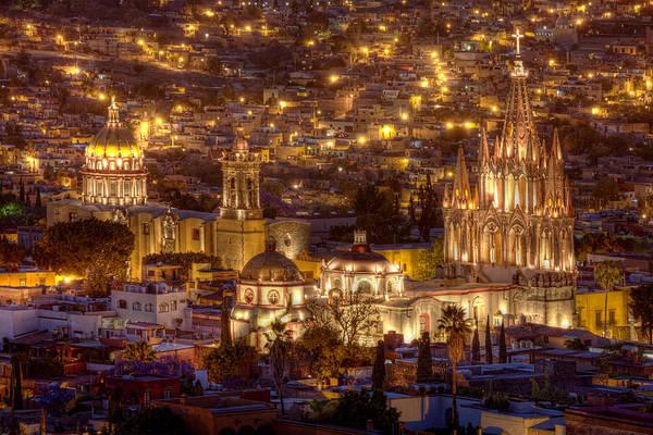 San Miguel De Allende Photograph - San Miguel De Allende At Night by Lindley Johnson
