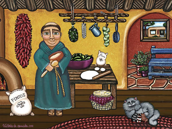 Saint Painting - San Pascuals Kitchen by Victoria De Almeida