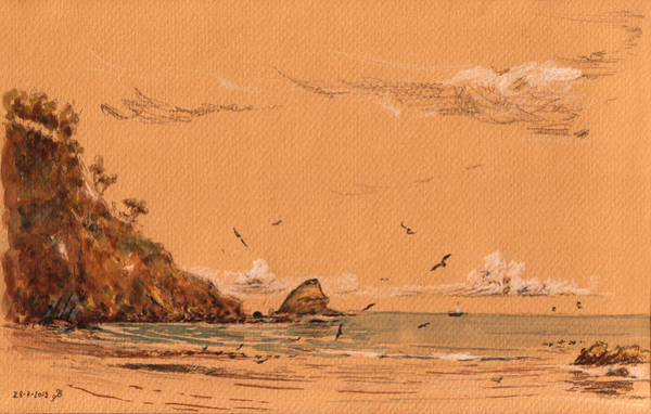 Gull Painting - San Pedro Beach by Juan  Bosco