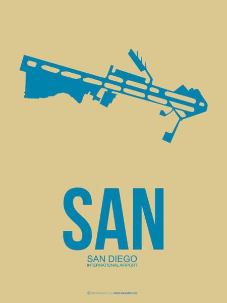 San Diego Digital Art - San San Diego Airport Poster 3 by Naxart Studio