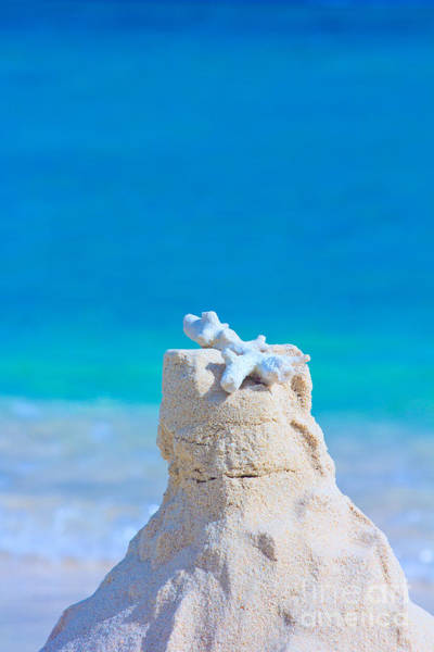 Sand Castle With Coral Against Calm Turquoise Sea Art Print