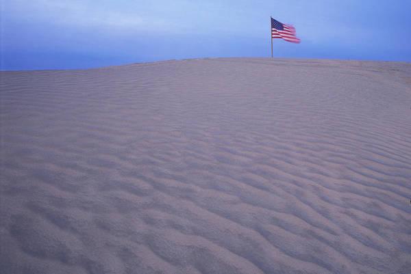 Oregon Dunes Photograph - Sand Dunes American Flag Christmas by Vintage Images