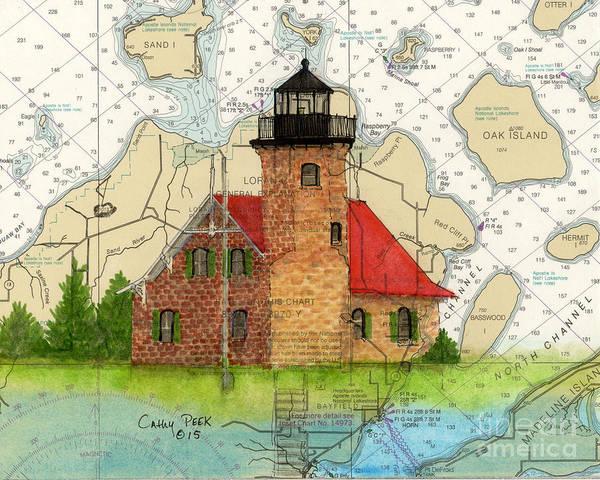 Wall Art - Painting - Sand Island Lighthouse Wi Cathy Peek Nautical Chart Map Art by Cathy Peek