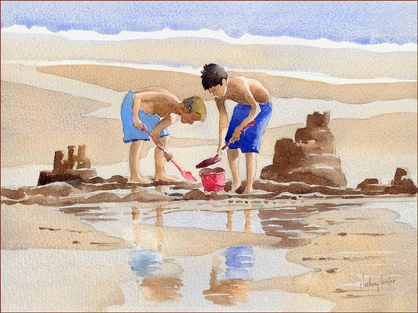 Wall Art - Painting - Sandcastles by Anthony Forster