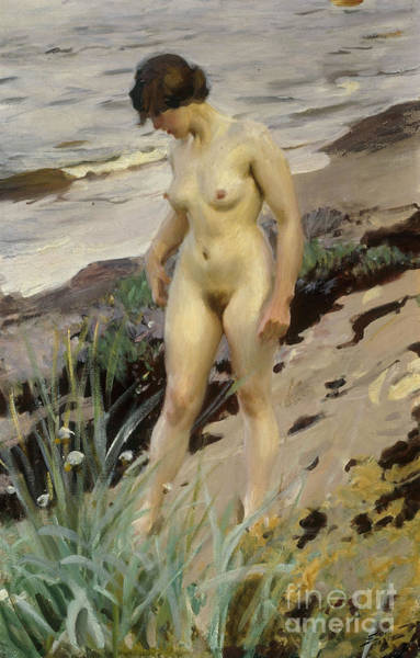 Unclothed Wall Art - Painting - Sandhamn Study by Anders Leonard Zorn