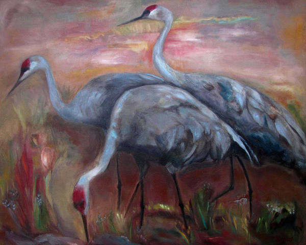 Glazed Wall Art - Painting - Sandhill Cranes by Susan Hanlon