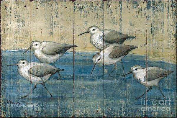 Wading Birds Wall Art - Painting - Sandpipers Oil Distressed by Paul Brent