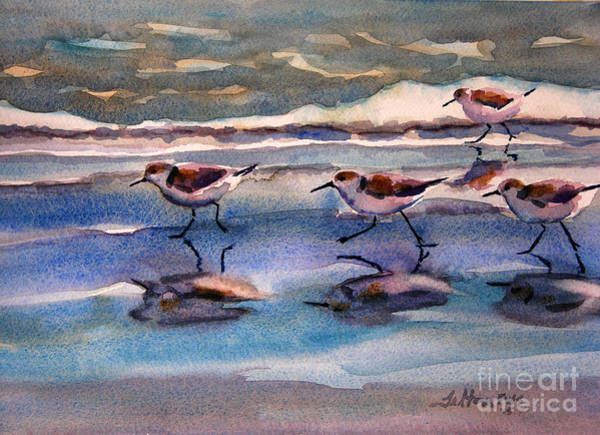 Painting - Sandpipers Running In Beach Shade 3-10-15 by Julianne Felton