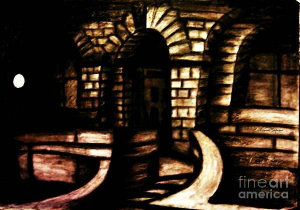Night Time Drawing - Technical College Sandstone Entrance At Night  by Leanne Seymour