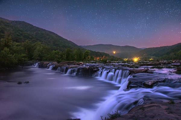 Photograph - Sandstone Falls At Night by Mary Almond