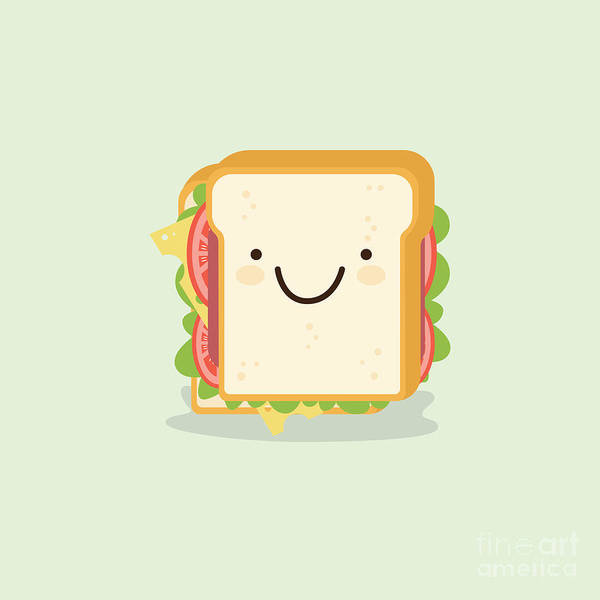 Bread Wall Art - Digital Art - Sandwich Cartoon Vector Illustration by Metsi