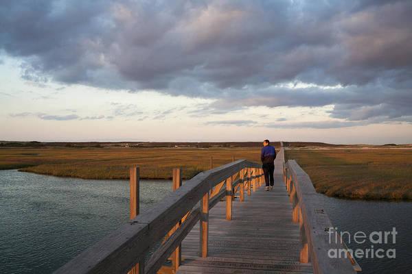 Photograph - Sandwich Massachusetts Boardwalk Under Dark Evening Clouds by William Kuta