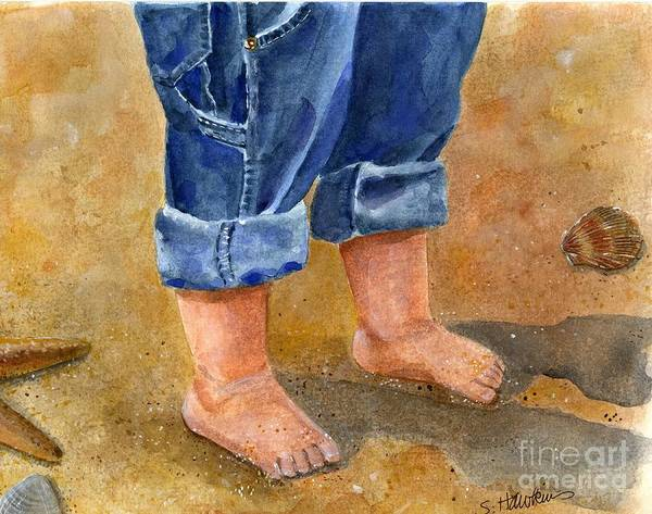 Wall Art - Painting - Sandy Baby Toes by Sheryl Heatherly Hawkins