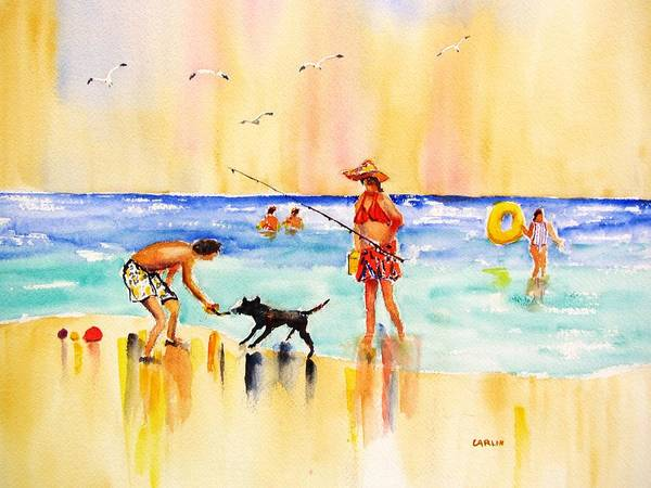Painting - Sandy Dog At The Beach by Carlin Blahnik CarlinArtWatercolor