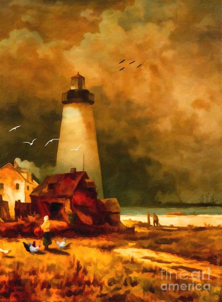 Lighthouses Digital Art - Sandy Hook Lighthouse - After Moran by Lianne Schneider