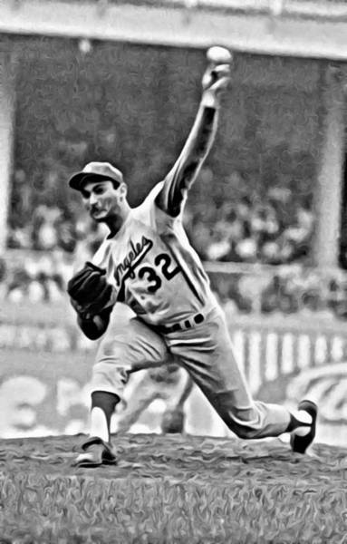 Pitcher Painting - Sandy Koufax Throwing The Ball by Florian Rodarte