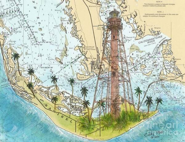 Cathy Painting - Sanibel Island Lighthouse Fl Nautical Chart Map Art Cathy Peek by Cathy Peek