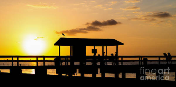 Photograph - Sanibel Island Fishing Pier Florida Sunset by Edward Fielding