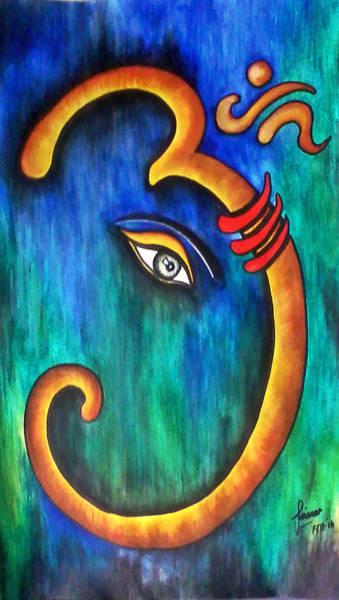 Ganesh Painting - Sanskrit Om Ganesha by Sivaanan Balachandran