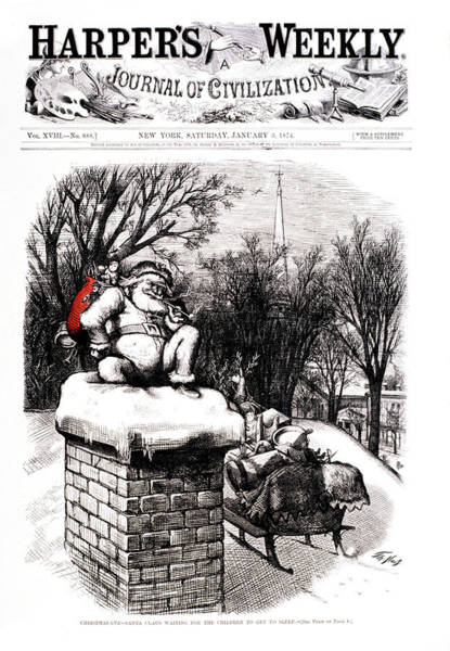 Harper Painting - Santa About To Go Down Chimney Red Bag by Vintage Images