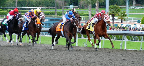 Photograph - Santa Anita Race Track Racing by Jeff Lowe
