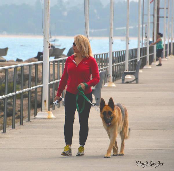 Dog Walker Photograph - Santa Barbara Breakwater 2 by Barbara Snyder