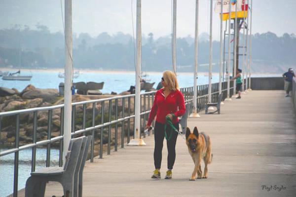 Dog Walker Photograph - Santa Barbara Breakwater 3 by Barbara Snyder