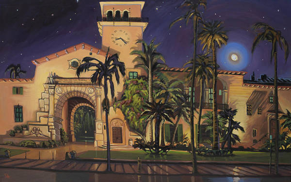 Courthouse Towers Painting - Santa Barbara Courthouse Nocturne With Moon by Chris Potter