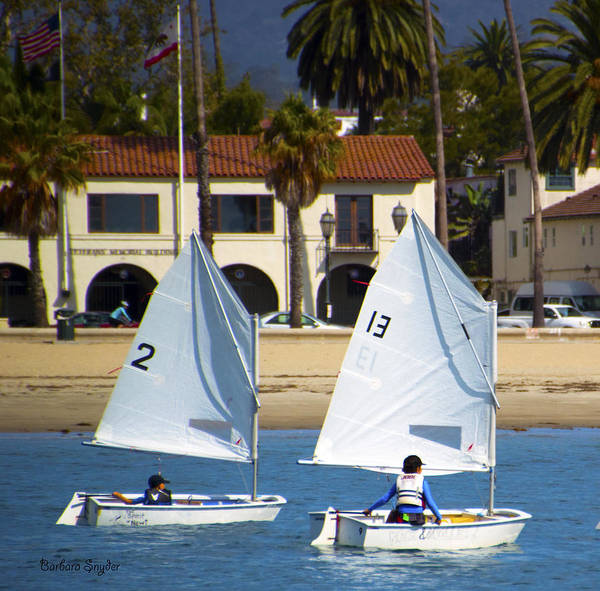 Racing Yacht Photograph - Santa Barbara Harbor Yacht Race by Barbara Snyder