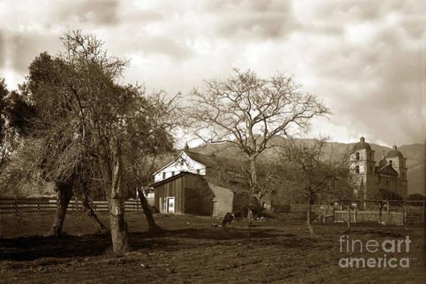 Photograph - Santa Barbara Mission California Circa 1890 by California Views Archives Mr Pat Hathaway Archives