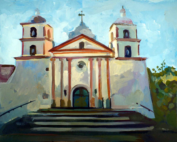 Impressionism Mixed Media - Santa Barbara Mission by Filip Mihail