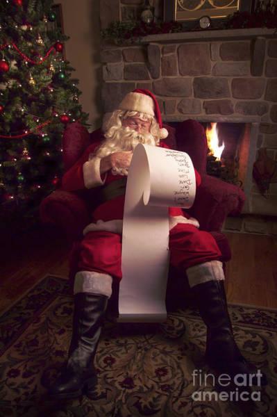 Santa Claus Photograph - Santa Checking His List by Diane Diederich