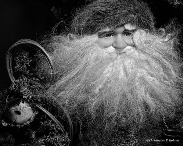 Photograph - Santa Claus - Bw by Christopher Holmes
