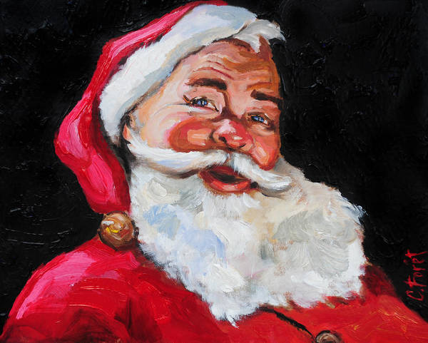 Christmas Card Painting - Santa Claus by Carole Foret
