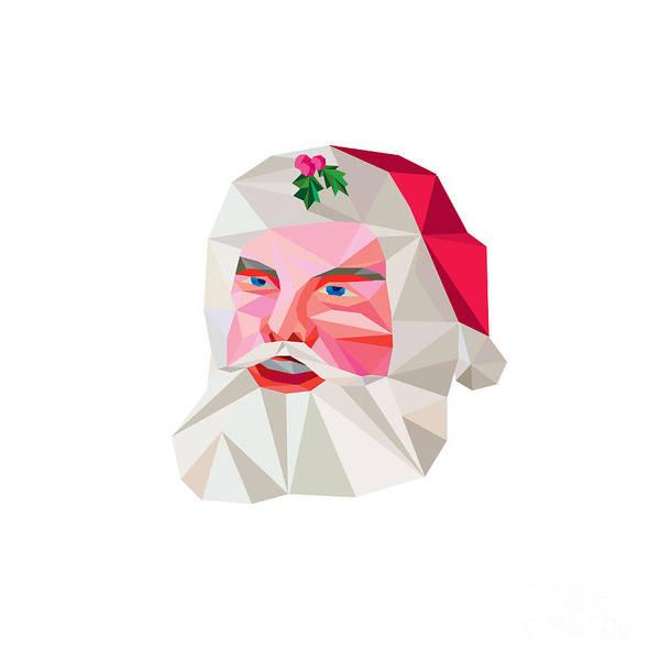 Yule Digital Art - Santa Claus Father Christmas Low Polygon by Aloysius Patrimonio