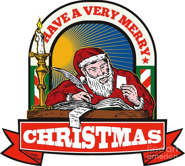 Yule Digital Art - Santa Claus Father Christmas Writing Letter by Aloysius Patrimonio