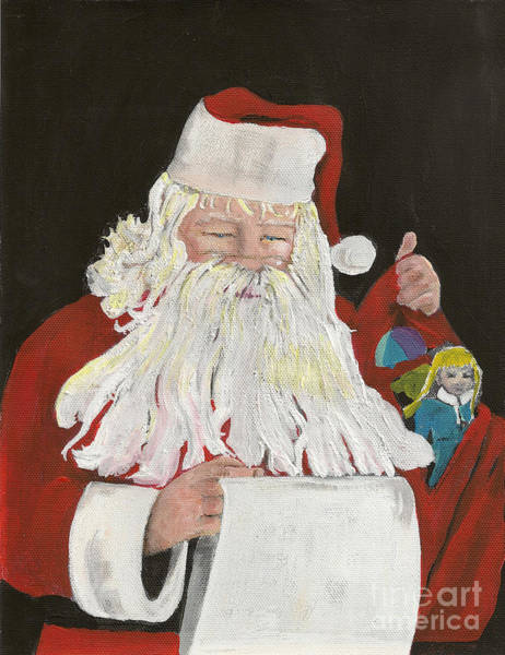 Painting - Santa Claus Is Coming To Town - Making A List by Jan Dappen