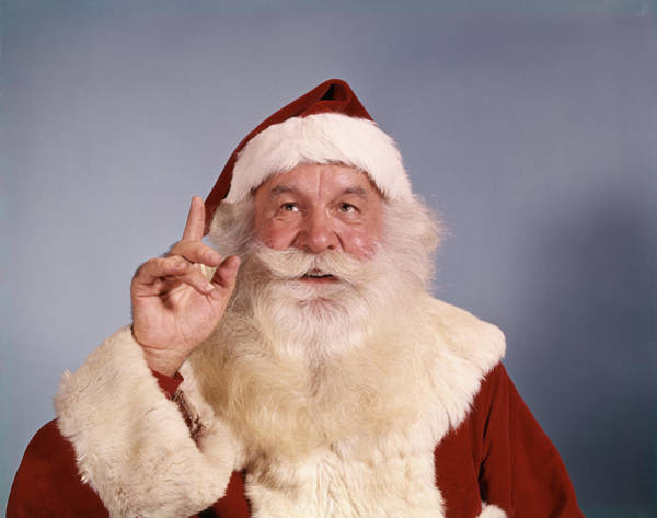Jolly Holiday Photograph - Santa Claus Making Hand Gesture Asking by Vintage Images