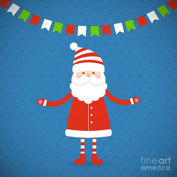 Child Digital Art - Santa Claus On A Blue Background by Bellenixe