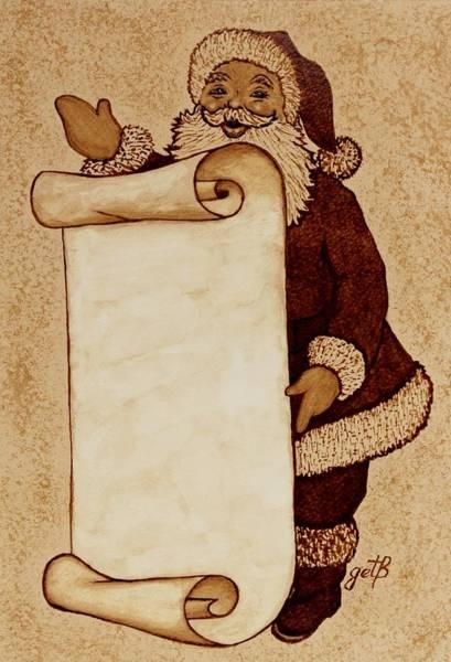Painting - Santa Claus Wishlist Original Coffee Painting by Georgeta  Blanaru