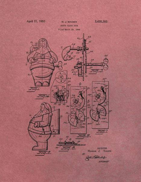 Toy Mixed Media - Santa Clause Toy Patent by Dan Sproul